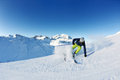 Skiing on fresh snow at winter season sunny day Royalty Free Stock Photo