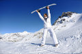 Skiing on fresh snow at winter season at sunny day Royalty Free Stock Photography