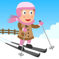 Skiing Girl in the Park