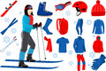 Skiing icons set of complete ski and snowboard outfit and ski resort equipment
