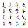 Skiing isometric set