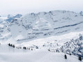 Skiing recreation place on swiss alps switzerland Royalty Free Stock Image