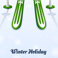 Skiing and ski poles on ice winter holiday Stock Photography