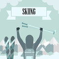 Skiing and snowboarding conquest of the height of or Stock Image