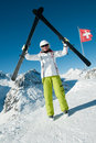 Skiing in Swiss Alps Royalty Free Stock Photos