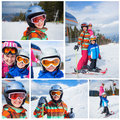 Skiing winter family collage of images two happy smiling kids in ski goggles and a helmet with his mother in the mountains Royalty Free Stock Images