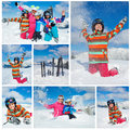 Skiing winter fun happy family snow sun and collage of images of enjoying vacations Stock Images