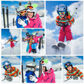 Skiing winter fun happy family snow sun and collage of images of enjoying vacations Stock Photo