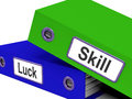 Skill and luck folders show expertise or chance showing Royalty Free Stock Photography