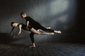 Skilled proficient ballet dancers demonstrating their flexibility