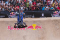 Skilled rider flips in front of crowd biker participating the red bull dirt conquers event which took place guadalajara méxico Stock Photography