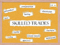 Skilled Trades Corkboard Word Concept Royalty Free Stock Photos