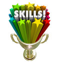 Skills gold trophy best skillset experience in demand word illustrating you have the or knowledge needed for a game competition Royalty Free Stock Photography