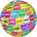 Skills word on sphere ball required experience job career a or to illustrate the many different skillsets knowledge and training Stock Image