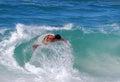 Skim boarder at brooks street beach laguna beach image shows a riding a shore break wave california Stock Image
