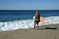 Skim Boarder waiting for a shore break wave to ride at Aliso Beach in Laguna Beach, California. Royalty Free Stock Photo