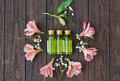 Skin care products and pink flowers Royalty Free Stock Photo
