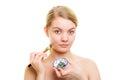 Skin Care. Woman Applying Clay...