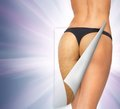 Skin cleanse concept closeup picture of woman in cotton underwear showing Royalty Free Stock Photos
