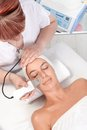 Skin rejuvenating treatment young women getting at beautician view from above Stock Images