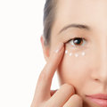 Skincare eye portrait of beautiful woman applying cream on her skin around Royalty Free Stock Images