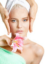 Skincare facial massage of beautiful young woman in spa Royalty Free Stock Photography