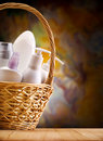 Skincare items in wicker basket Stock Photography