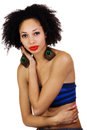 Skinny light skinned black woman tube top african american wearing Stock Photos