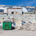 A skip full of rubble on construction site outside Royalty Free Stock Photography