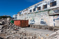 A skip full of rubble on construction site outside Royalty Free Stock Images