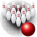 Skittles and bowling ball. Royalty Free Stock Image