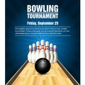 Skittles and bowling ball on bowling court Royalty Free Stock Photo