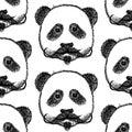 Skizzieren sie panda mit dem schnurrbart nahtloses muster des vektors Stockfotografie