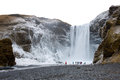 The skogafoss waterfall in iceland in the winter Royalty Free Stock Photography