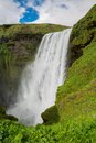 Skogafoss waterfall middle height view of on the south of iceland near the town skogar Royalty Free Stock Image
