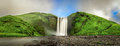Skogafoss waterfall panorama in southern Iceland from above Royalty Free Stock Photo