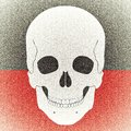 Skull aged picture on black red background vintage and Stock Photography
