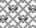 Skull argyle pattern repeating fleur de lys Royalty Free Stock Photography