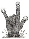 Skull art hand symbol love. Royalty Free Stock Photo