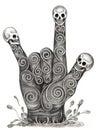 Skull art hand symbol love. Royalty Free Stock Photo