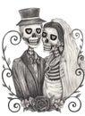 Skull art wedding day of the dead. Royalty Free Stock Photo