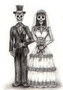 Skull art wedding day of the dead .Hand drawing on paper. Royalty Free Stock Photo