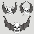 Skull bat wings set rocker style Royalty Free Stock Photo