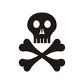 Skull black with crossed bones symbol isolated Stock Images
