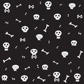 Skull bone seamless pattern Halloween scarf isolated cartoon repeat wallpaper tile background