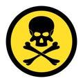 Skull and bones. Black danger sign on yellow circle Royalty Free Stock Photo