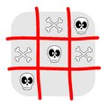 Skull and bones tic tac toe illustration isolated on white background Royalty Free Stock Photography