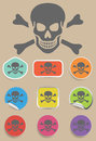 Skull and bones warning sign - vector Royalty Free Stock Photo