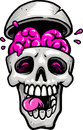 Skull with brain out and tongue Royalty Free Stock Image