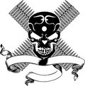 Skull And Bullet Vintage Emblem. Royalty Free Stock Images